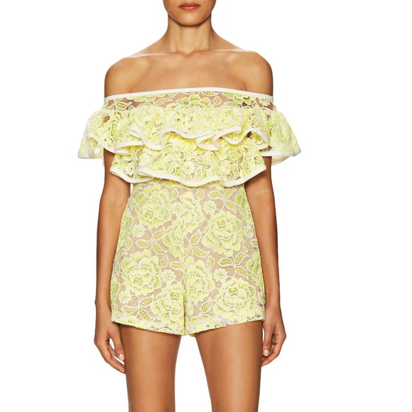 df5c1123ebd Alexis Other - Alexis Valen Yellow Lace Romper